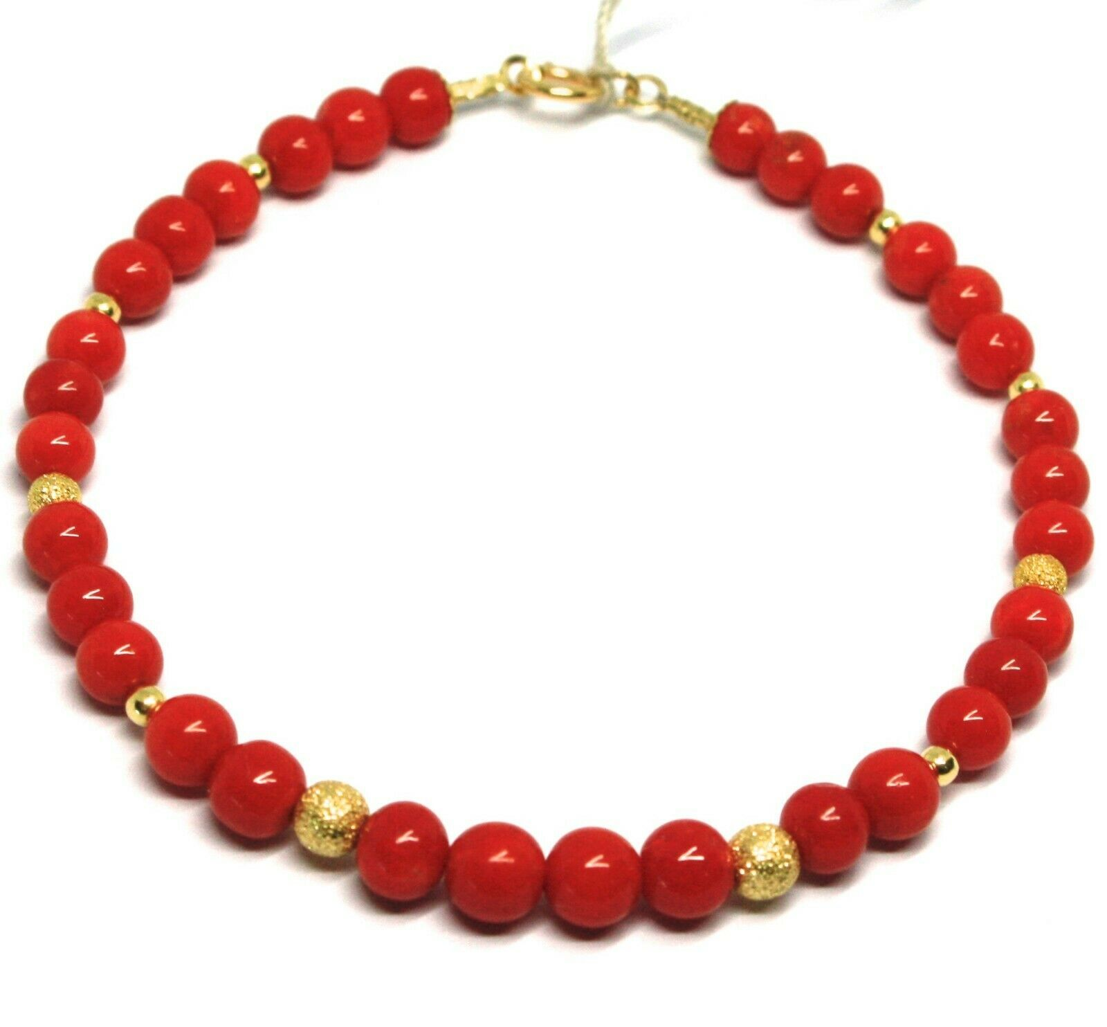 BRACELET OR JAUNE 18K 750,CORAIL ROUGE,SPHÈRES MEULES DIAMANTÉES,MADE IN ITALY