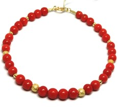 BRACELET OR JAUNE 18K 750,CORAIL ROUGE,SPHÈRES MEULES DIAMANTÉES,MADE IN... - $321.74