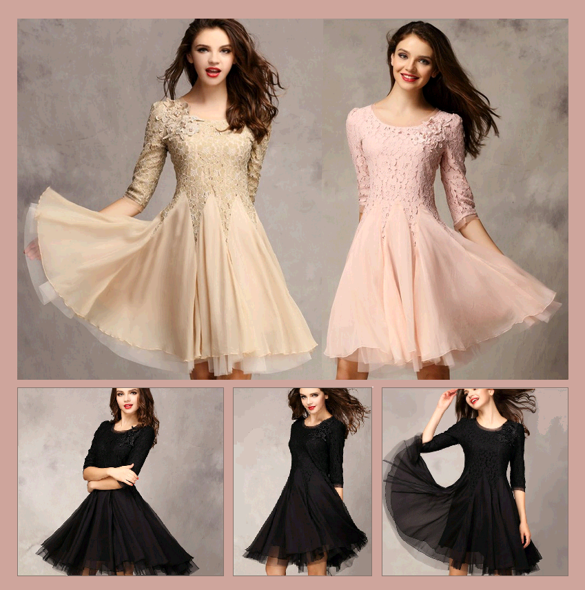 Sweet Miss Gala Ball Lace Prom Gown in Champagne Nude Pink and Classic Black