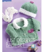 Y023 Crochet PATTERN ONLY Just Desserts Baby Cardigan Sweater & Hat Set ... - $10.50