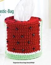 W277 Crochet PATTERN ONLY Watermelon Plastic-Bag Dispenser Cover Pattern - $6.45