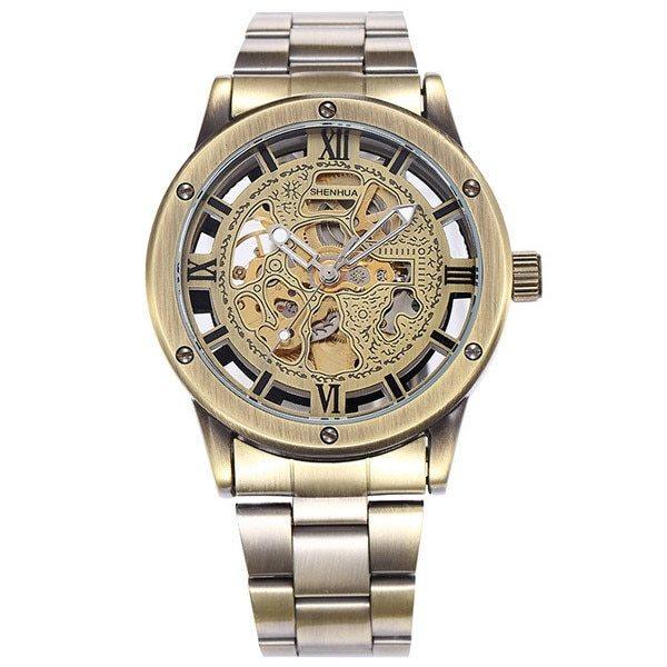 Vintage Bronze Men's Skeleton Watch Clock Male stainless steel Strap Antique Ste