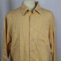 Robert Talbott 100% Linen Orange Plaid Long Sleeve Button-Front Shirt Sz... - €19,84 EUR