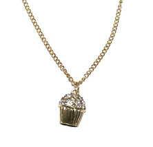 Opia Primark Cupcake crystals necklace in gold colour New with tag - $10.88