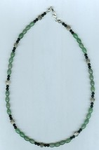 Unisex  Beaded Necklace, Hematite, Black Glass,  #13Sc1-017, Free Shipping - $8.50