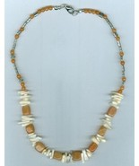 Beaded Necklace, Natural Coral Tips, Carnelian, #13Sc03-02, Free Shipping - $9.43