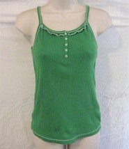 Girls Size XXL 18 Green Cami Tank Top Faded Glory Front Neck Buttons Ruffle Trim - $7.73