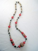 """26"""" Necklace Chunky Wood Beads and Orange Acrylic Off White Accents Togg... - $9.79"""