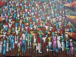 Original oil painting, The bazaar painting, African painting, Wall art  - $1,540.00