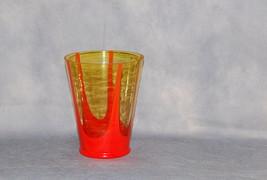 Czechoslovakia Tango Orange Light Amber Glass Tapering Vase - $275.00