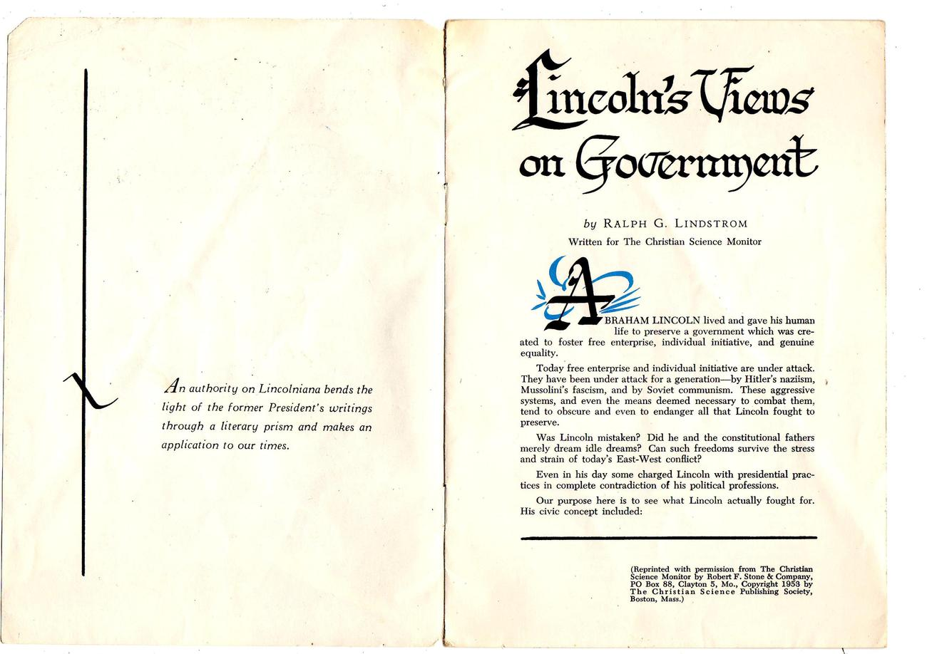 Lincoln's Views On Government by Ralph G. Lindstrom