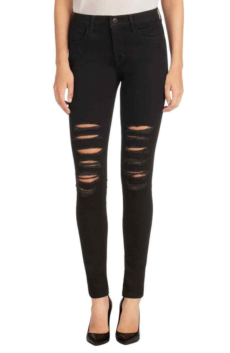 $198 NEW J Brand Maria - High Rise Skinny in Black Heart Destroyed - Size 29