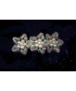 Pearl Centers With Frosted Bead Petals Vintage Barrette - $5.00