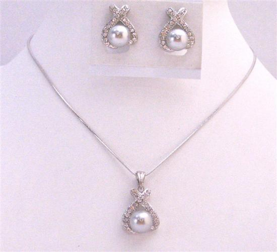 Dainty Light Grey Pearl Pendant Under $15 Cheap Bridesmaid Jewelry Set