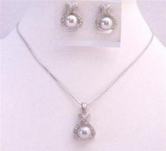 Dainty Light Grey Pearl Pendant Under $15 Cheap Bridesmaid Jewelry Set - $21.18