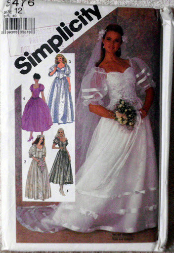 Vintage Wedding Dress Pattern Simplicity 8476, Size 12, Bridesmaid Maid of Honor