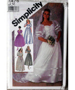 Vintage Wedding Dress Pattern Simplicity 8476, Size 12, Bridesmaid Maid ... - $15.00
