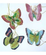 Kubla Cloisonne Butterfly ornaments. Set of 4pc. Beautiful . #4398  - $29.95