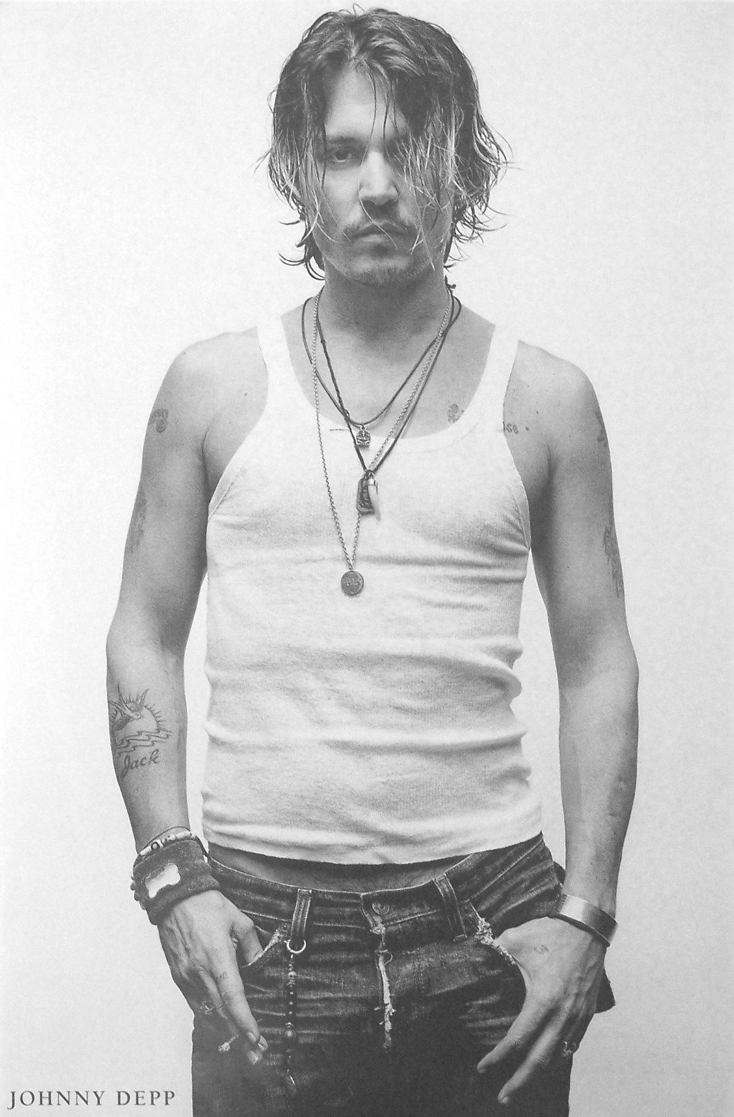 Johnny Depp Poster 23.5x35 inches Wife Beater Tank Top T-shirt Import OOP Rare