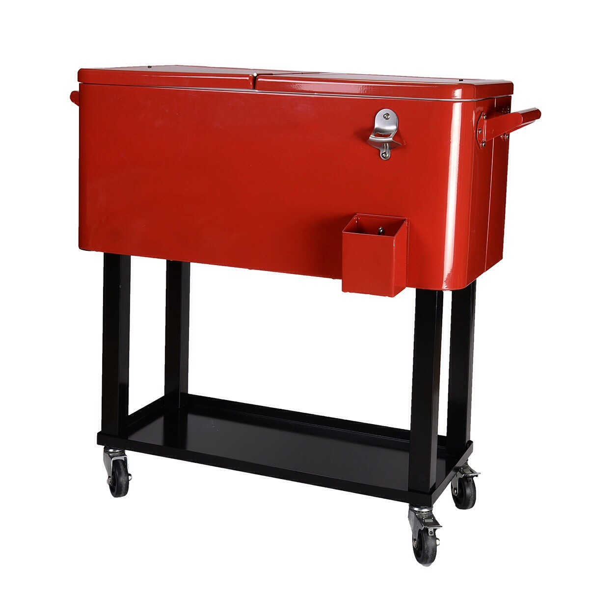 80-Quart Cooler Beer Cart Outdoor Entertaining Rolling Party Steel Bar Bistro