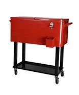 80-Quart Cooler Beer Cart Outdoor Entertaining Rolling Party Steel Bar B... - $139.95