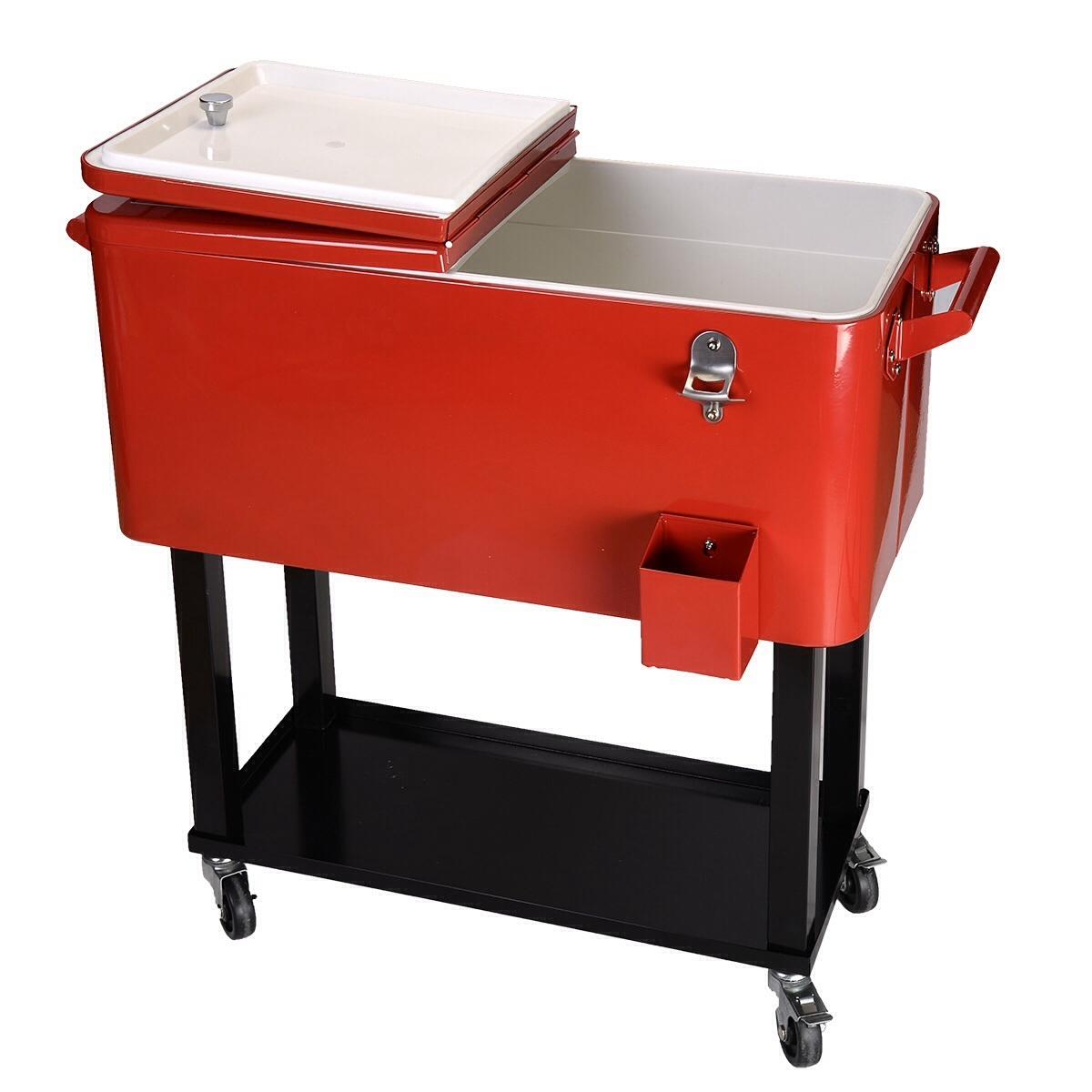 80-Quart Cooler Beer Cart Outdoor Entertaining Rolling Party Steel Bar Bistro