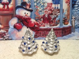 Vintage Pair of Rare Miniature Ceramic Silver W/ Glitter Christmas Trees - $18.00