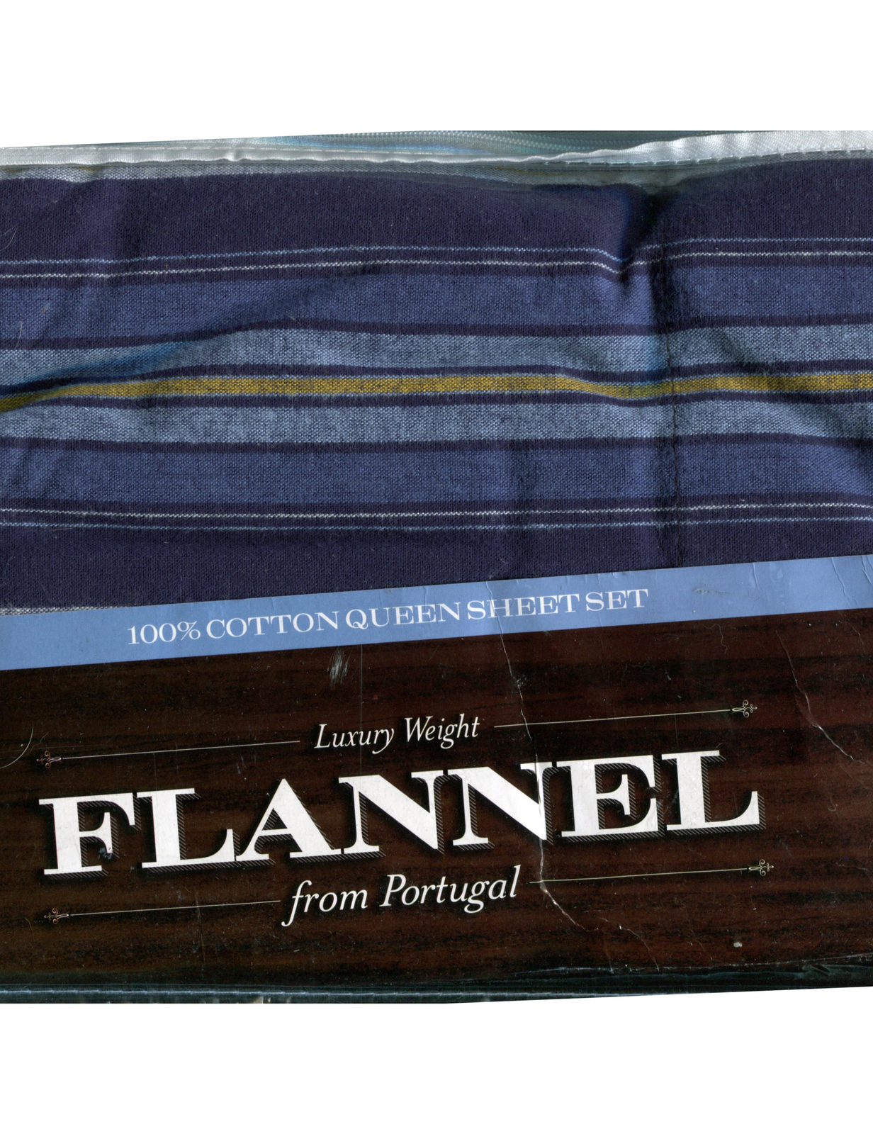 Luxury Weight Flannel From Portugal 100% Cotton QUEEN Sheet Set  - Blue Stripe