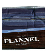 Luxury Weight Flannel From Portugal 100% Cotton QUEEN Sheet Set  - Blue ... - $56.99