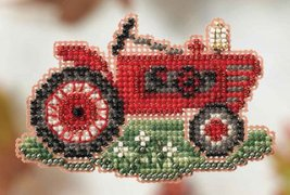 Grandpa's Tractor Autumn Harvest Series 2014 seasonal beaded ornament Mill Hill - $6.30