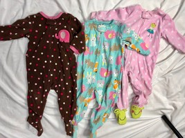 Carter's Fleece Sleepers Romper Pajamas One Piece Girls 12M Elephant Fro... - $29.70