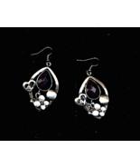 Silver With Black Stone Pierced Earrings  - $5.00