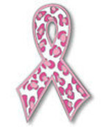 Pink Ribbon Breast Cancer Leopard Print Lapel Pin Tac - $11.97
