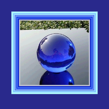 New Age Rare Natural Quartz BLUE Magic Crystal Healing Orb with Stand