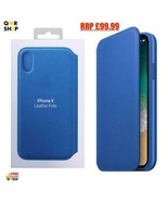 Genuine Official Apple Leather Flip Wallet Case for iPhone X- Blue- MRGE... - $37.92