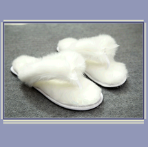 Soft White Thick Fuzzy Feather Haired Thong Sheepskin Slippers