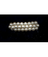 3 ROW Pearl French Clasp VINTAGE HANDMADE Barrette - $10.00