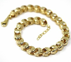 18K YELLOW GOLD BRACELET, BIG ROUNDED DIAMOND CUT OVAL DROPS 6 MM, ROUNDED image 2