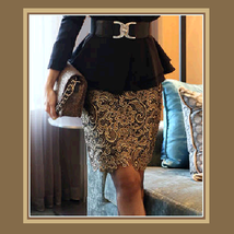 Floral or Paisley Gold Lace Crochet Black Lining Back Zip Up Pencil Skirt image 2