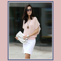 Elegant Soft Silk Chiffon Lotus Sleeve Scarf  Blouse Pink, White or Black