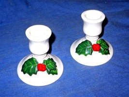 Holly candle stick holders  Set OF 2 Small CHRISTMAS IN JULY - $42.26