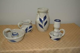 lot of 4 Williamsburg salt glaze blue gray pottery Americana vintage - $19.39