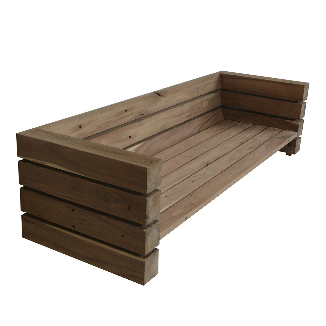 Awesome Teak Plank Log Sofa,88'' x 29''H
