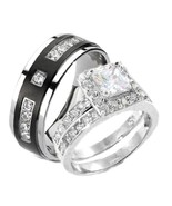 3 Pieces His & Hers Sterling Silver & Titanium ... - $49.99