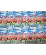 1/2 yard floral/bright pink flowers on blue quilt fabric - $5.99