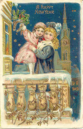 A Happy New Year vintage 1908 Post Card