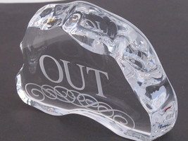 """Glass office Paperweight """"OUT"""" 24% lead crystal - $17.60"""
