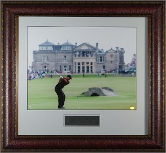 Primary image for Tiger Woods unsigned 11x14 Photo Leather Framed 2005 British Open Swilcan Bridge