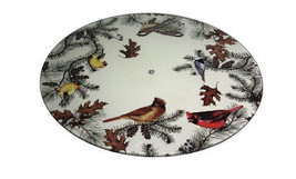 Glass Cardinal Finch Chickadee Birds on Branches Lazy Susan Kitchen Turn... - $49.99