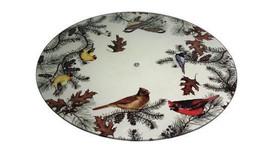 Glass Cardinal Finch Chickadee Birds on Branches Lazy Susan Kitchen Turn... - $49.99